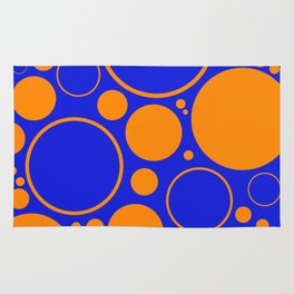 Bubbles And Rings In Orange And Blue Rug