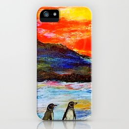Beautiful Penguins With Sea Lion By The Blue Ocean Painting iPhone Case