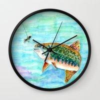 trout Wall Clocks featuring Brook Trout by Linda Ginn Art ©