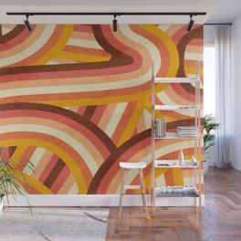 Vintage Orange 70's Style Rainbow Stripes Wall Mural