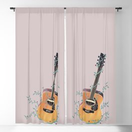 Acoustic Guitar with Vines Illustration  Blackout Curtain