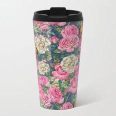 Vintage grunge Floral Rose and Birds Pattern on #Society6 Metal Travel Mug
