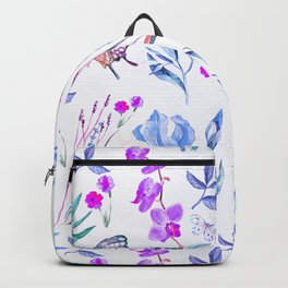 Modern purple blue watercolor hand painted orquid butterfly Backpack