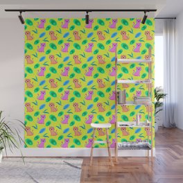Cute happy little baby pink tigers tropical rainforest exotic green blue leaves yellow pattern Wall Mural
