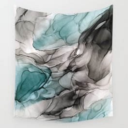 Smoky Grays and Green Abstract Flow Wall Tapestry
