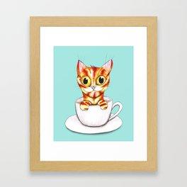 Striped coffee cat Framed Art Print