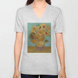 Vincent Willem van Gogh, 1889, Sunflowers / Vase with Twelve Sunflowers, Oil On Canvas Artwork Unisex V-Neck