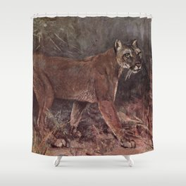 Vintage Puma Painting (1909) Shower Curtain