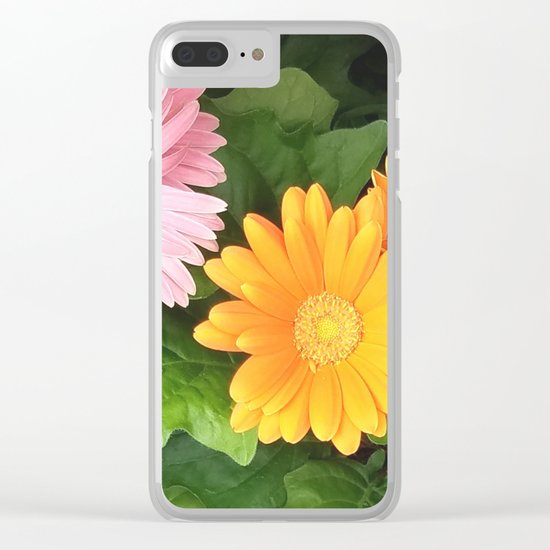 Summer Flowers Pink Yellow Orange Clear iPhone Case
