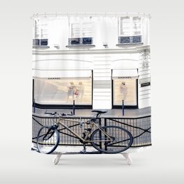 boutique coco paris and bicycle Shower Curtain