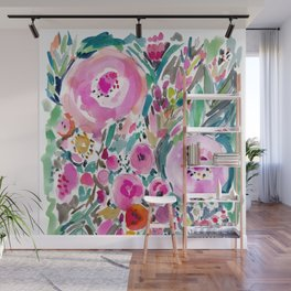 Pink Pow Wow Abstract Painterly Floral Wall Mural