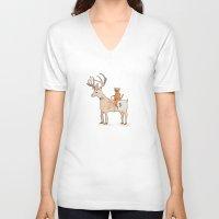 suit V-neck T-shirts featuring Deer Suit, Cat Suit by Brent Braaten