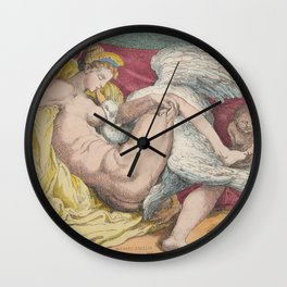"Thomas Rowlandson ""Leda and the Swan"" after Michelangelo Buonarroti Wall Clock"