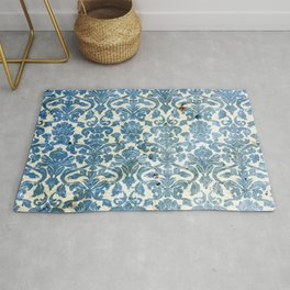 Vintage Antique Blue Wallpaper Pattern Rug