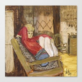 Female Figure in Chair painting collage Canvas Print