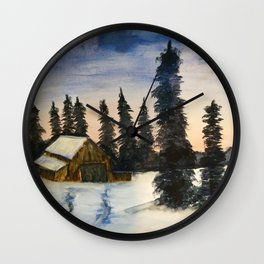 In the Midst of Winter   Bob Ross Reproduction   Watercolour Painting Wall Clock