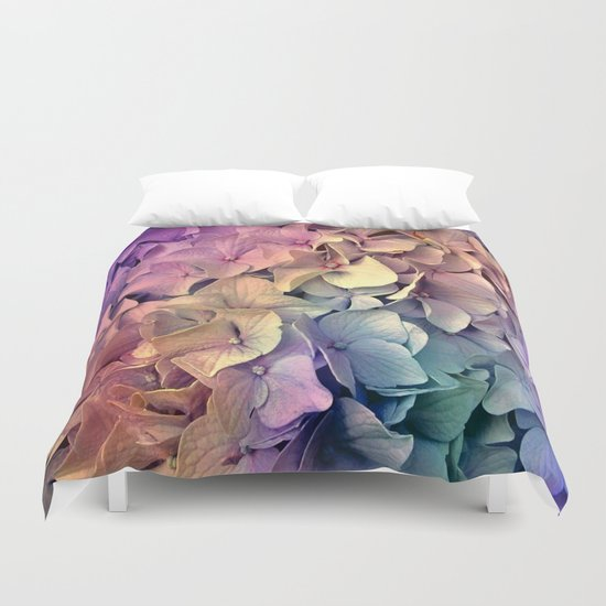Soft Multi Color Hydrangea Duvet Cover By Judy Palkimas