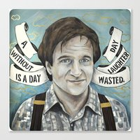 robin williams Canvas Prints featuring Robin Williams by Meagan Williams DeLong