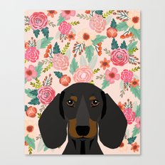 Dachshund florals cute pet gifts black and tan dachshund gifts for dog lover with weener dog Canvas Print