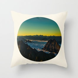 Yellow & Teal Turquoise Ombre Sunrise over Mountain Range Throw Pillow