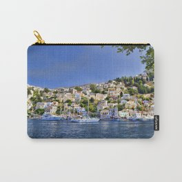 Symi island in Greece. Traditional houses. Sunny day with blue sky and sea. Carry-All Pouch