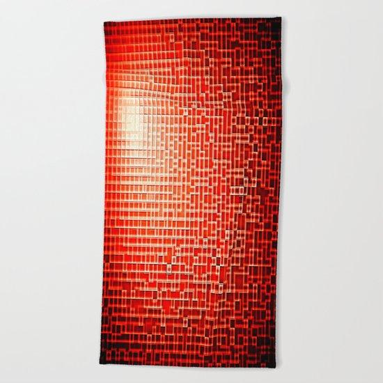 Red Space Pixels Beach Towel