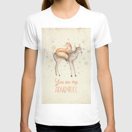 You are my adventure- fox and deer in winter- merry christmas T-shirt