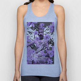 CHINA ANTIQUITIES YESTERDAY MEETS TODAY IN PURPLE AND WHITE Unisex Tank Top