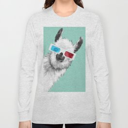 Sneaky Llama with 3D Glasses #01 Long Sleeve T-shirt