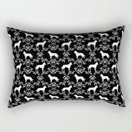 Australian Kelpie dog pattern silhouette black and white florals minimal dog breed art gifts Rectangular Pillow