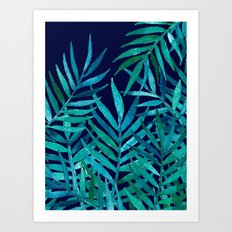 Watercolor Palm Leaves on Navy Art Print