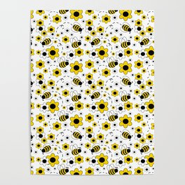 Honey Bumble Bee Yellow Floral Pattern Poster