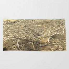Vintage Pictorial Map of Fort Wayne Indiana (1868) Beach Towel