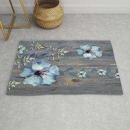 Rustic Barn Wood Series: Watercolor Flower Vines Rug