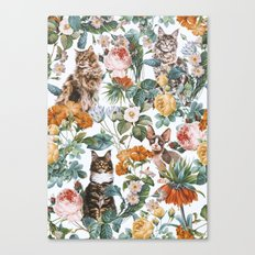 Cat and Floral Pattern III Canvas Print