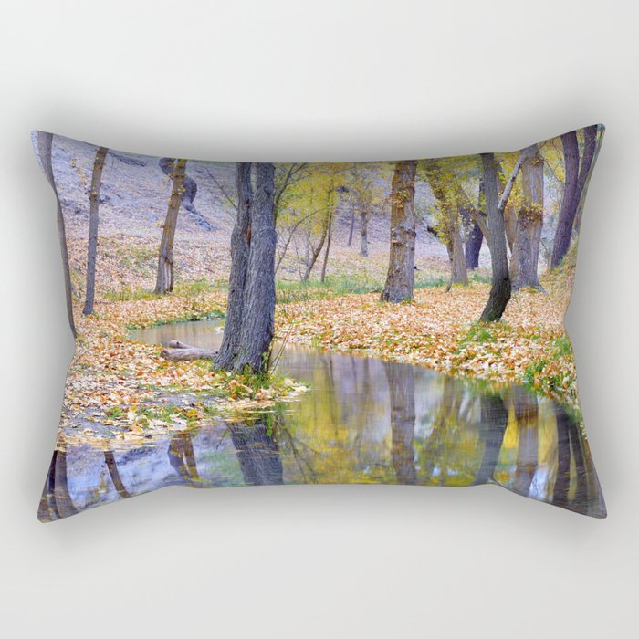 """Curves"". Autumn forest Rectangular Pillow"