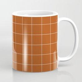 Windowpane Check Grid (white/burnt orange) Coffee Mug