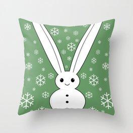 Snow bunny and snowflakes Throw Pillow
