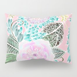 Blush pink lavender green white watercolor hand painted flowers Pillow Sham
