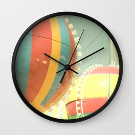 Up Up & Away I Carnival, fair, ride, hot air balloon, whimsical, fun rainbow, adventure, pastel,  Wall Clock