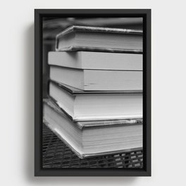 Stack of Books (in black and white) Framed Canvas