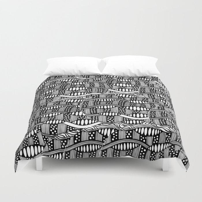 waves black and white Duvet Cover