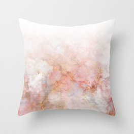 Beautiful Pink and Gold Ombre marble under snow Throw Pillow