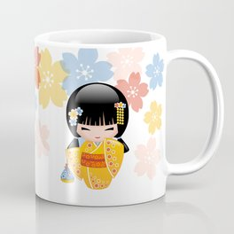 Japanese Summer Kokeshi Doll Coffee Mug