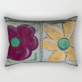 Big Red and Big Yellow Flower on Old Window Screen Double Flip Rectangular Pillow