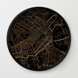 Black and gold Ho Chi Minh map, Vietnam Wall Clock