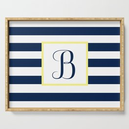 Monogram Letter B in Navy Blue it Yellow Outlined Box Serving Tray