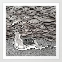 Sad snail Art Print