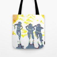 heroes Tote Bags featuring Heroes by SquidInkDesigns