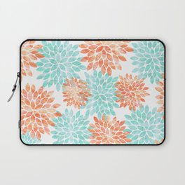 aqua and coral flowers Laptop Sleeve
